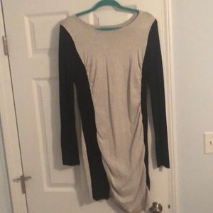 Silver glitter and black long sleeve dress